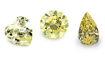 Gelbe Diamanten in verschiedenen Formen beispielhafte Ansicht