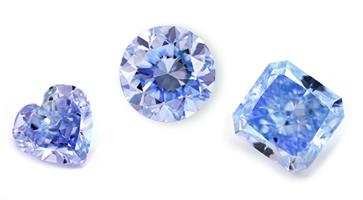 Blaue Diamanten in verschiedenen Formen: beispielhafte Ansicht