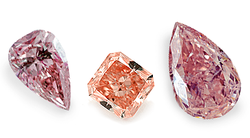 Rote Diamanten in  verschiedenen Formen, beispielhafte Ansicht