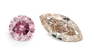 Pinke Diamanten in verschiedenen Formen, beispielhafte Ansicht