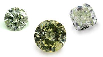 Grüne Diamanten in verschiedenen Formen, beispielhafte Ansicht