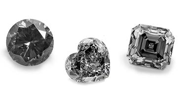 Schwarzen Diamanten in verschiedenen Formen: beispielhafte Ansicht