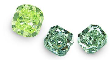 Chamäleon Diamanten in verschiedenen Formen, beispielhafte Ansicht