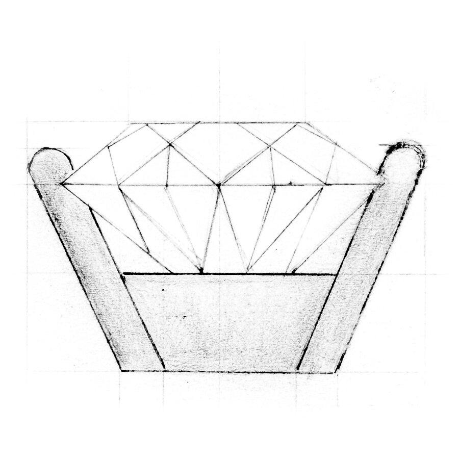 Beispielhafte Skizze einer Chaton Fassung