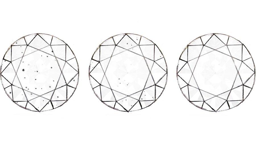 Unreinheiten sind oft mikroskopisch klein. Je weniger Einschlüsse ein Diamant aufweist, desto wertvoller ist er.