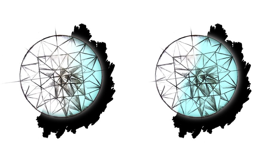 Diamanten mit Fluoreszenz leuchten unter UV Lichti.d.R. blau.