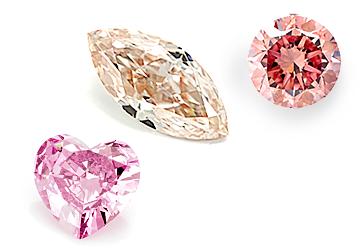 Farbige Diamanten, Herz pink, Navette orange, Brillant rot