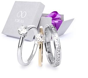 Beispielhafte Abbildung verschiedener Diamantringe zum Verschenken