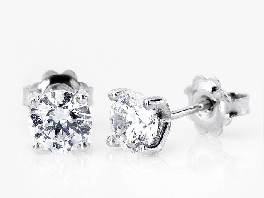 Weißgoldene Ohrstecker mit Diamanten