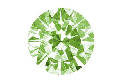 Beispielhafte Ansicht eines grünen Diamanten. Brillant, fancy green.