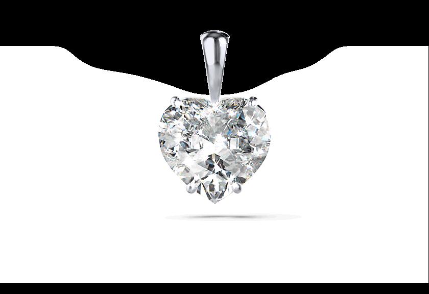 Diamantanhänger Silja in Weißgold mit einem Herz Diamanten
