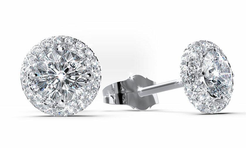 Mehrstein Ohrringe Assiti mit jeweils einem Hauptdiamanten und vielen kleinen Diamanten