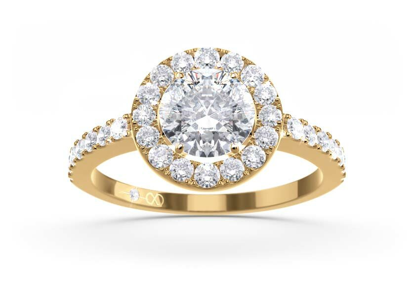 Ringfassung Akzenta, Halo Ring in Gelbgold mit Brillant