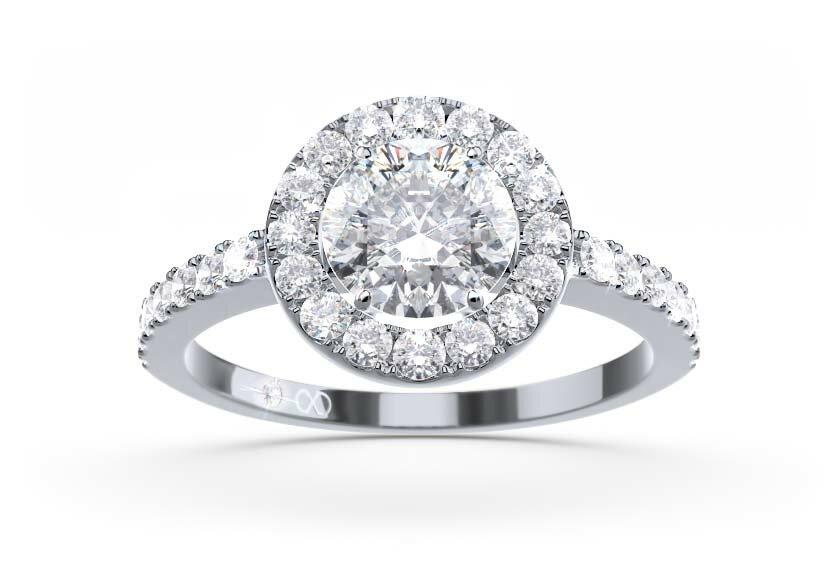 Ringfassung Akzenta, Halo Ring in Weißgold mit Brillant