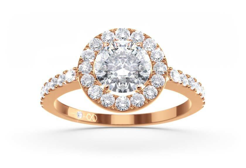 Ringfassung Akzenta, Halo Ring in Rotgold mit Brillant