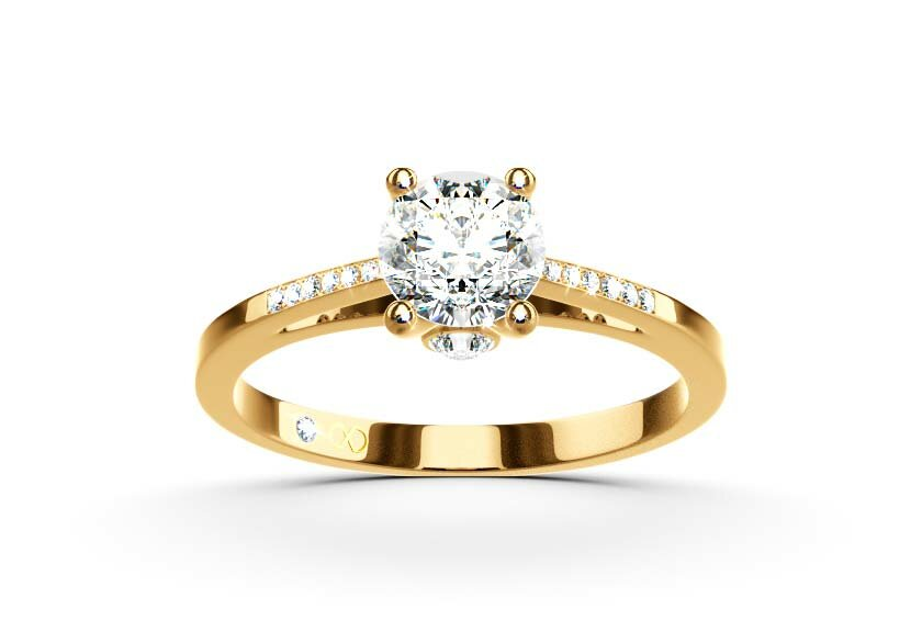 Ringfassung Callidia, Pavee Ring in Gelbgold mit Brillant