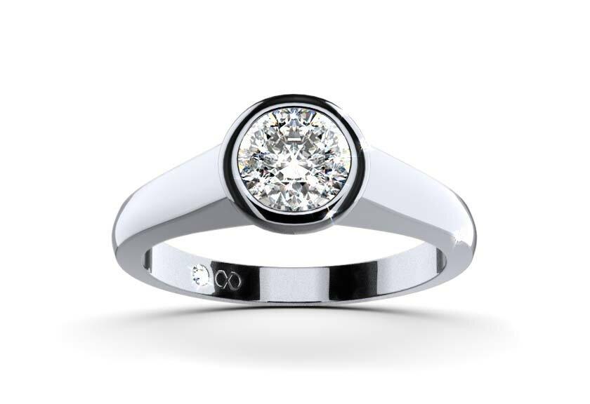 Ring mit Zargenfassung, Epona in 750er Weißgold mit einem Brillanten