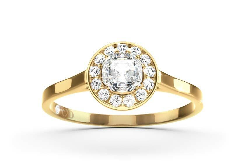 Ringfassung Haloria, Halo-Ring in Gelbgold mit einem Brillanten