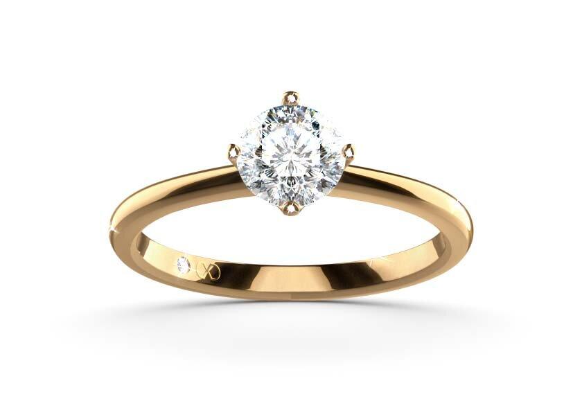 Ring mit Krappenfassung, 4 Krappen, Luna, 750er Gelbgold mit einem Brillanten