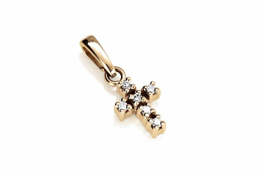 Diamantanhänger Kreuz 0.09 Karat in 750er Gelbgold