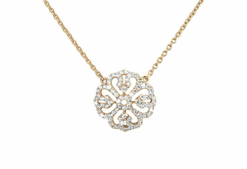 Diamanthalsketten, 750er Gelbgold mit Diamanten