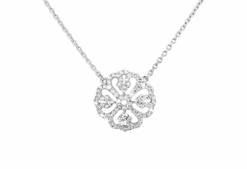 Diamantanhänger Miranda in Weißgold mit weißgoldener Halskette