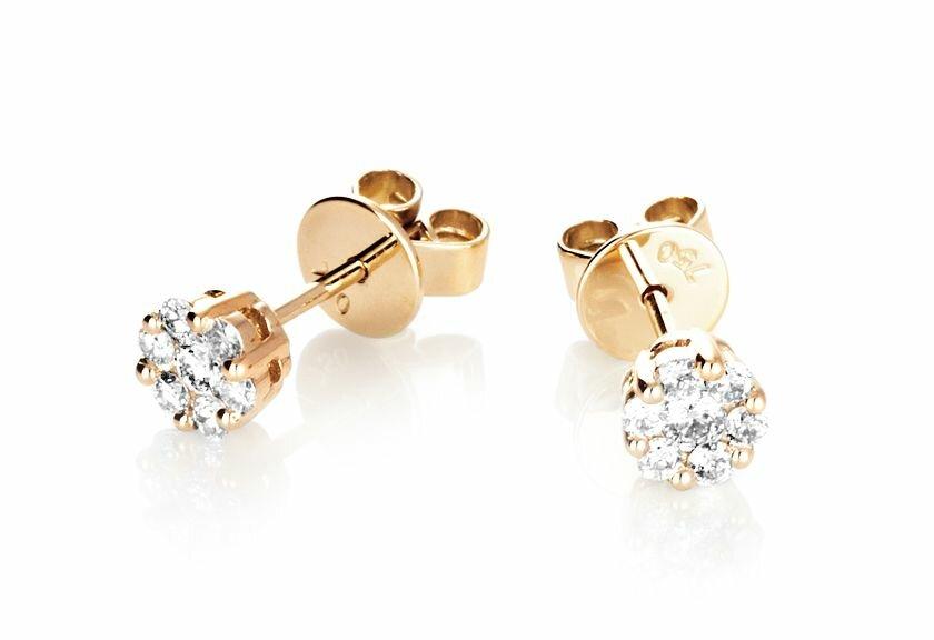 Diamantohrringe Livonia in 750er Gelbgold mit Diamanten